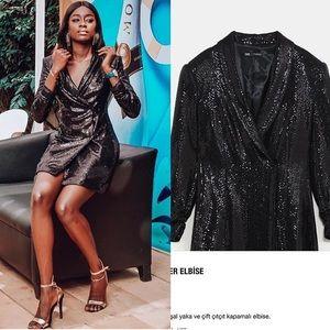 641186b94a4f Zara Dresses | Sequin Black Sparkly Blazer Dress | Poshmark